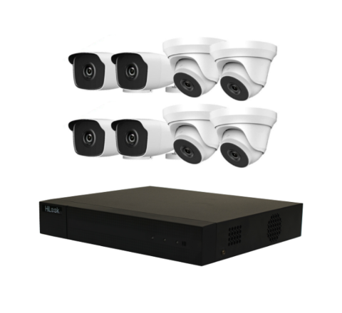 8 Cameras & 16ch DVR HiLook by Hikvision Kit: 4 x Dome, 4 x Bullet & DVR