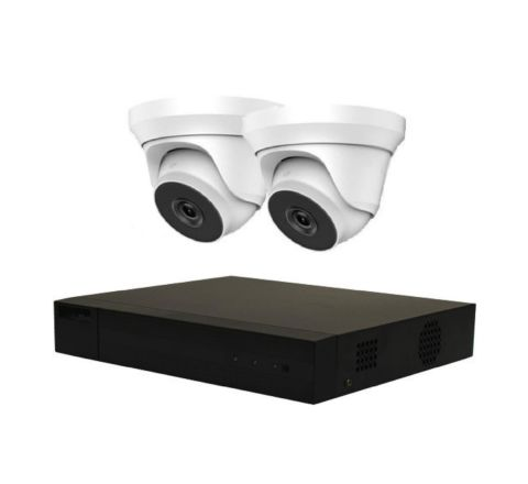 Hikvision HiLook 2 Camera IP POE Combo: NVR & 2 x HiLook-3148 5MP Dome Cameras 4mm [3153-2]