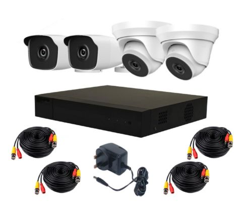 4 Camera HiLook by Hikvision Complete Kit: 2 x Dome, 2 x Bullet, DVR & Cables [3778]