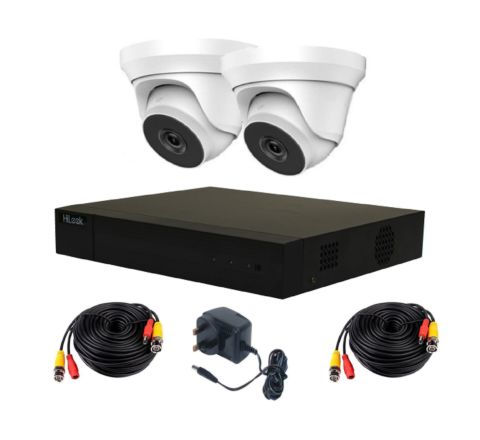 2 Camera HiLook by Hikvision Kit: DVR, 2 x 5MP Domes, PSU & 10m Cables [3779]