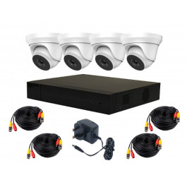 HiWatch by Hikvision Complete Kit, DVR3655 H265+, 4domes-3658, cable kit [3625]