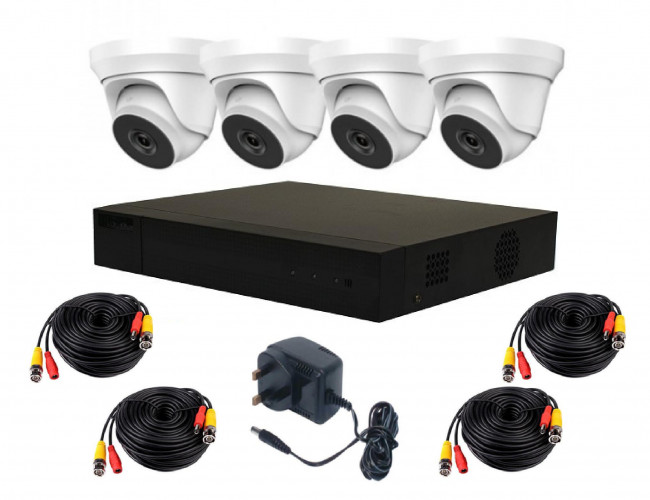 HiWatch by Hikvision Complete Kit | H265+ DVR, 4 Turret Dome