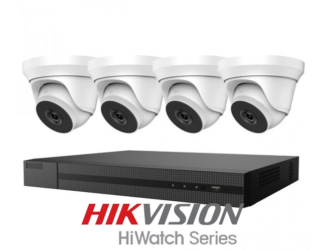 HiWatch by Hikvision Complete Kit | H265+ DVR, 4 Turret Dome Cameras