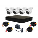 4 Camera HiWatch by Hikvision Complete Kit: DVR, 4 x Domes, Cable Kit [3625]