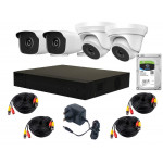 4 Camera HiLook by Hikvision Kit: 2 x Dome & 2 x Bullet, DVR INC HDD, Cable Kit [3673]