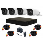 HiLook by Hikvision Kit, DVR-H265+ HL-3655, 4pcs Hilook 4MP Bullet 3763, cable kit [3695]