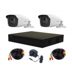 HiLook by Hikvision Kit - DVR-H265+ x2 HiLook 4MP Bullet Cameras, Cables & PSU [3776]