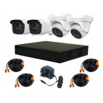 4 Camera HiLook by Hikvision 4MP Complete Kit: 2 x Dome, 2 x IR Cameras, DVR, Cables [3778]