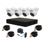 4 Camera HiLook by Hikvision 4MP Complete Kit: 4 x Dome, DVR, Cables [3970]